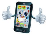 Happy mobile phone mascot character