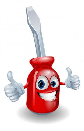 Illustration for Cartoon screwdriver illustration giving a double thumbs up - Royalty Free Image