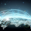 A world map network background with flight paths o...