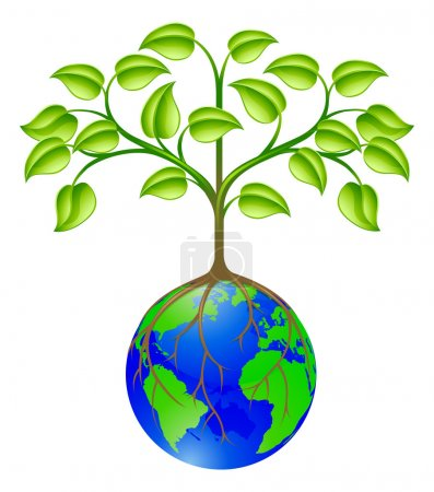 Illustration for Conceptual illustration of a world globe tree - Royalty Free Image