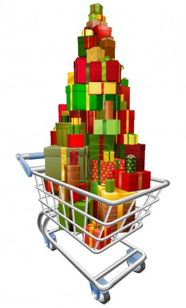 Illustration for A shopping trolley cart with huge amount of gifts or presents stacked in it - Royalty Free Image