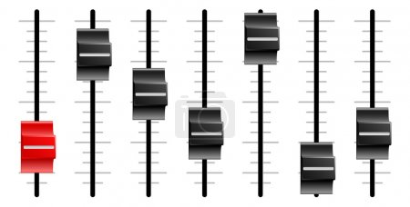 Sliders or faders like those on sound or video con...