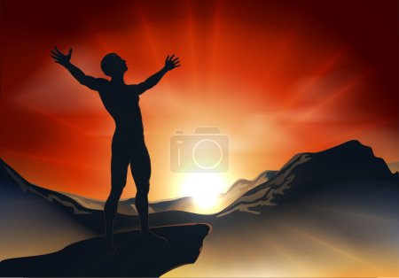 Illustration for Illustration of a man on a mountain or cliff top with arms out at sunrise or sunset with light sunburst - Royalty Free Image