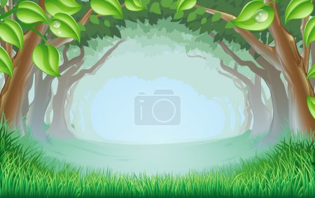 A beautiful woodland scene with trees and grass an...
