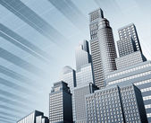Abstract blue corporate city skyscraper business background