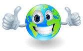 Globe earth mascot with thumbs up