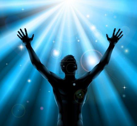 Illustration pour Un homme avec les mains levées en silhouette avec des rayons de lumière en arrière-plan - image libre de droit