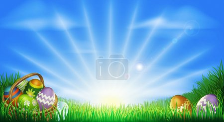 Illustration for Easter background with decorated Easter eggs and Easter eggs in basket in a sunny field - Royalty Free Image