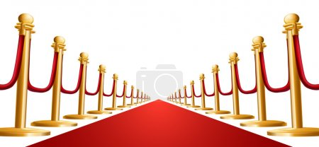 Illustration for Illustration of a red velvet rope and red carpet - Royalty Free Image