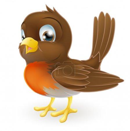 Illustration pour Dessin d'un oiseau Robin dessin animé mignon debout - image libre de droit