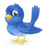 Illustration of a cute cartoon bluebird standing