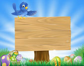 A bluebird Easter cartoon background Blue bird sits atop a rustic wooden sign in field of grass with Easter eggs and Easter egg basket