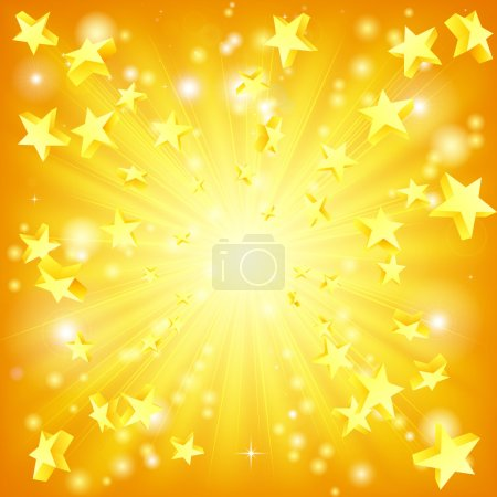 Illustration for Orange and yellow background with 3d stars flying out. - Royalty Free Image