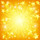 Orange and yellow background with 3d stars flying out