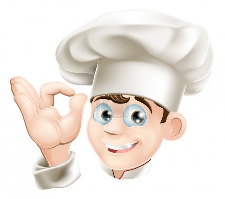 Illustration for Illustration of a happy smiling cartoon chef in a chef hat - Royalty Free Image