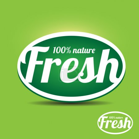Illustration for Green fresh label button vector - Royalty Free Image