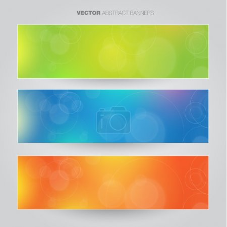 Set of three abstract banners - blue, orange, green