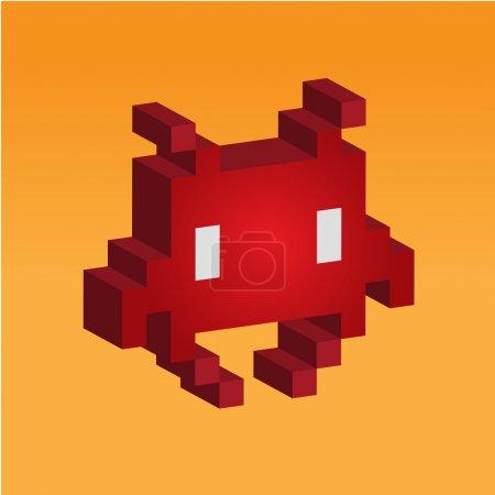 Illustration pour 3d Space invader - icône de jeu vieux 8bit - image libre de droit