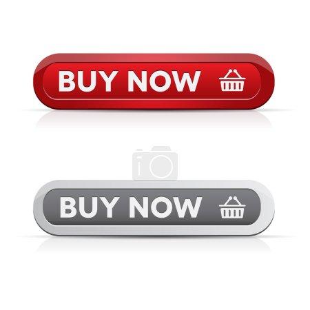 Illustration pour Ensemble de boutons vectoriels acheter maintenant - rouge, gris - image libre de droit