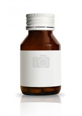 Drug bottle with blank label