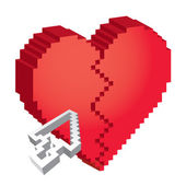 3d pixel broken heart