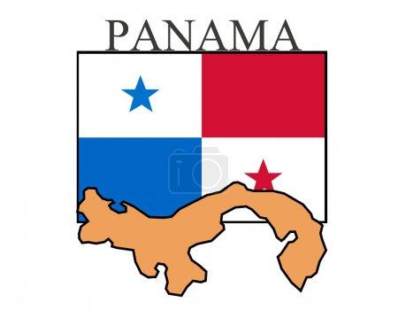 Panama Flag isolated on white