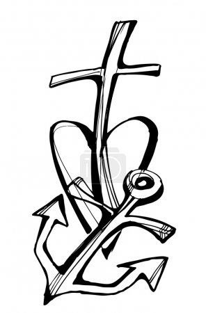 Faith - hope - love, Collection of drawing symbols, cross, heart, anchor
