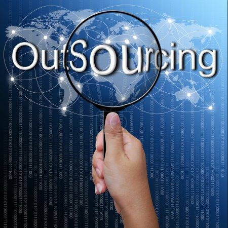 OutSourcing, word in Magnifying glass,network background