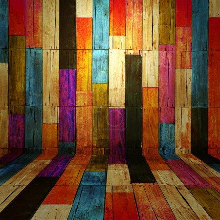 Foto de Fondo de madera sala antigua a todo color - Imagen libre de derechos