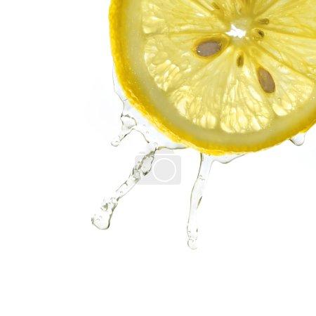 Photo pour Tranche de citron dans l'éclaboussement de l'eau, fond blanc, isolé, studio tourné - image libre de droit