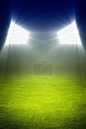 Green soccer field