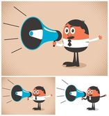 Man speaking in a megaphone The illustration is in 3 versions No transparency and gradients used