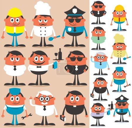 Photo pour Ensemble de personnages de dessins animés de différentes professions. Pas de transparence et de gradients utilisés . - image libre de droit