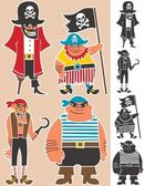 4 cartoon pirates No transparency and gradients used