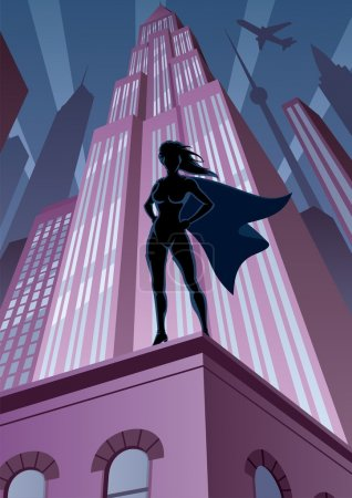 Illustration for Super heroine watching over the city. No transparency used. Basic (linear) gradients. A4 proportions. - Royalty Free Image