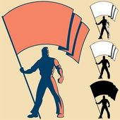 Man holding a flag You can place the colors of your own flag or put your logo text or symbol in the blank space 3 types of silhouettes are also included