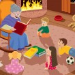 Granny is reading fairy tales to her grandchildren...