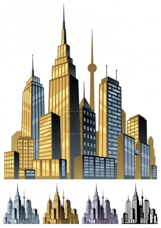 Illustration for Comic book city in 5 color versions. No transparency used. Basic (linear) gradients. - Royalty Free Image