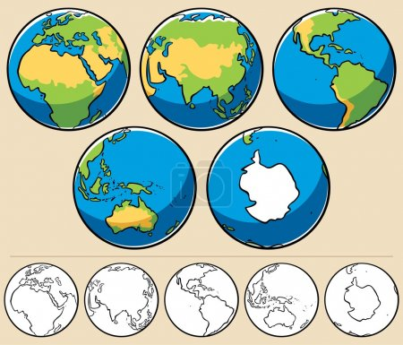 Illustration for Cartoon illustration of planet Earth viewed from 5 different angles. Below are the same globes uncolored. - Royalty Free Image
