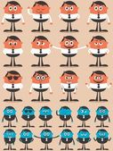 Retro businessman character in 12 different emotions and 24 versions Easy to change colors No transparency and gradients used