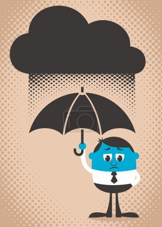 Illustration for Conceptual illustration of sad and blue man. Use the dark cloud as copy space if you want. Easy to change colors. - Royalty Free Image