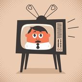 Cartoon illustration of retro television set broadcasting the news No transparency and gradients used