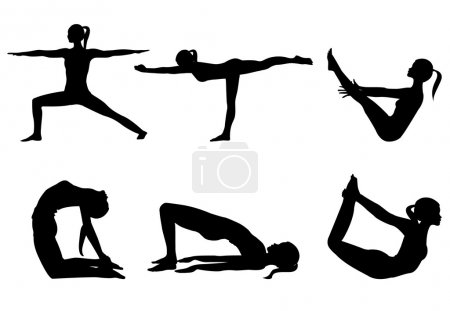 Photo for Yoga series 3, six yoga poses on white - Royalty Free Image
