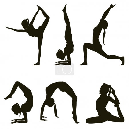 Photo for Six yoga positions silhouettes on white - Royalty Free Image