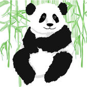 Panda s bambusovými rostlinami