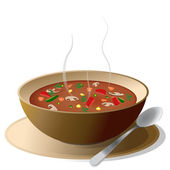 Bowl of hot soup on plate
