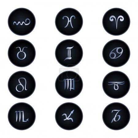 Illustration pour Signes du zodiaque isolés sur blanc - image libre de droit