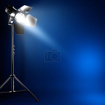 Photo pour Une illustration 3D de la lumière flash photo studio avec faisceau de lumière . - image libre de droit