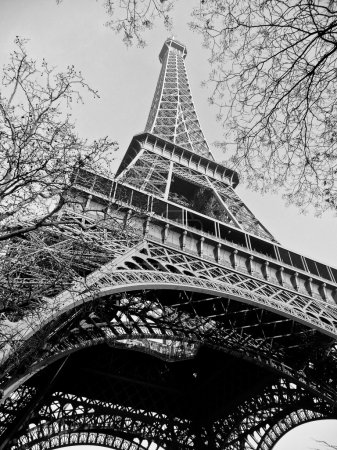 Photo for Upward view in black and white of the Eiffel Tower, Paris - Royalty Free Image