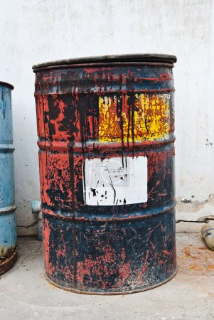 Old rusty oil drum